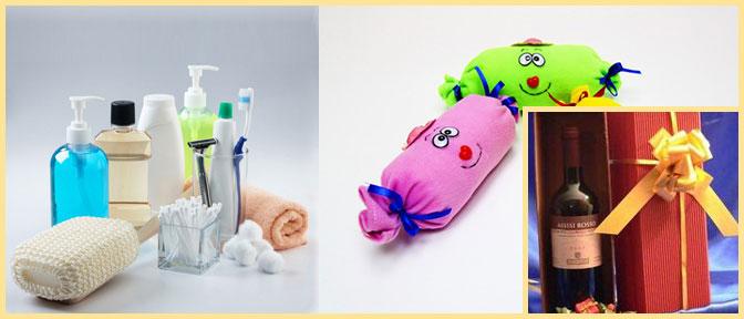 Средства гигиены, конфенты и алкоголь