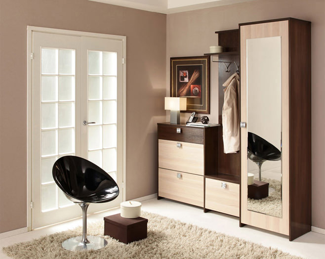 Небольшая прихожая с правильным расположением мебели