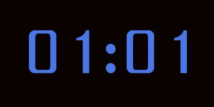 одинаковые цифры с двенадцати часов ночи до утра