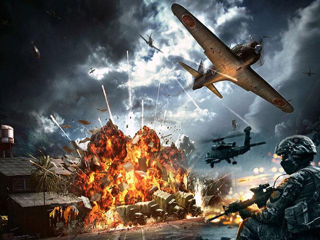 Военные действия, самолёты в небе, человек с оружием