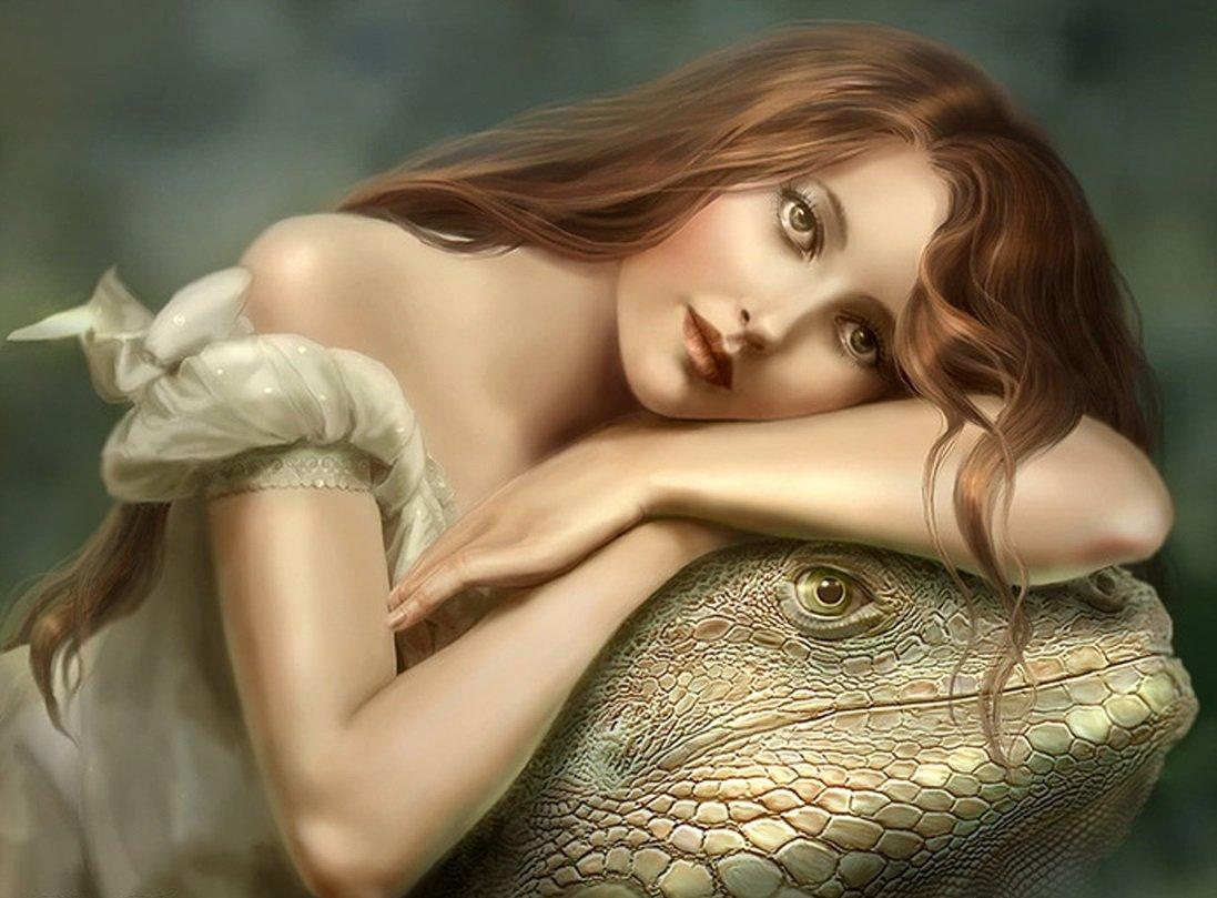 Девушка и ящер